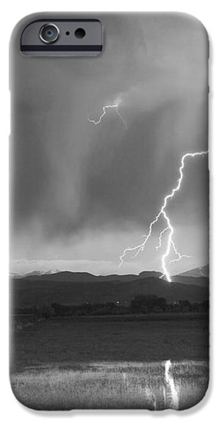 Lightning Striking Longs Peak Foothills BW iPhone Case by James BO  Insogna