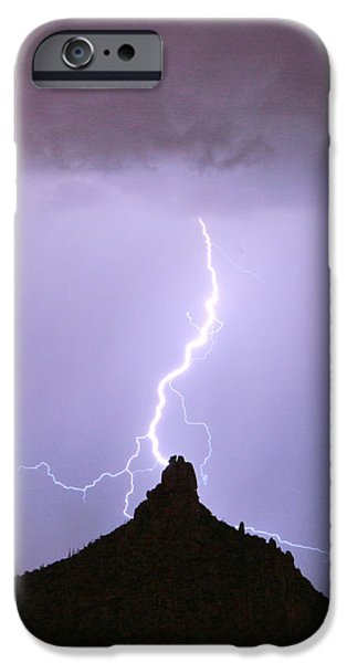 Lightning Striking Pinnacle Peak Scottsdale AZ iPhone Case by James BO  Insogna