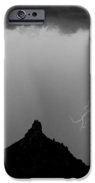 Lightning Thunderstorm at Pinnacle Peak BW iPhone Case by James BO  Insogna