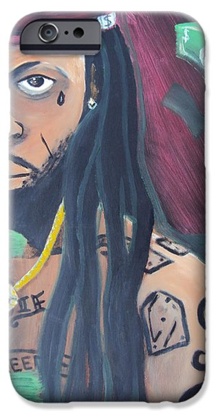 Lil Wayne Paintings iPhone Cases - Lil Wayne Diptych no. 2 iPhone Case by Casey P