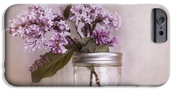 Stillife iPhone Cases - Lilac And Cherries iPhone Case by Priska Wettstein