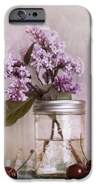 lilac and cherries iPhone Case by Priska Wettstein
