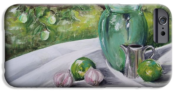 Still Life Pastels iPhone Cases - Limes and Mirabelles iPhone Case by Marie-Claire Dole