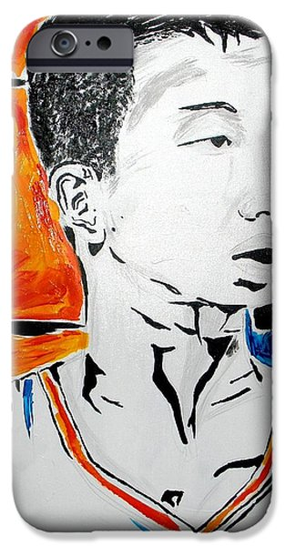 Knicks Paintings iPhone Cases - Lin  iPhone Case by Patrick Ficklin