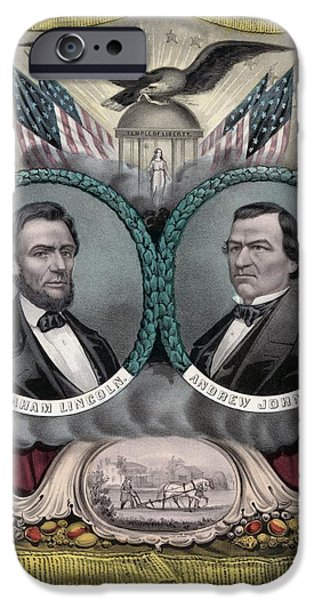 American History iPhone Cases - Lincoln and Johnson Election Banner 1864 iPhone Case by War Is Hell Store