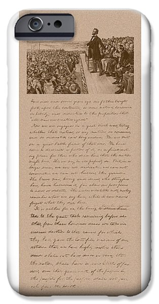 American History Mixed Media iPhone Cases - Lincoln and The Gettysburg Address iPhone Case by War Is Hell Store