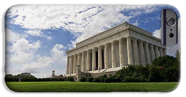Abraham Lincoln Canvas iPhone Cases - Lincoln Memorial and Sky iPhone Case by Lori Coleman