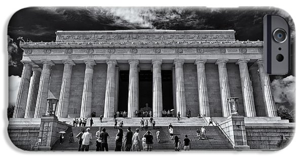 D.c. iPhone Cases - Lincoln Memorial in Black and White iPhone Case by Lori Coleman