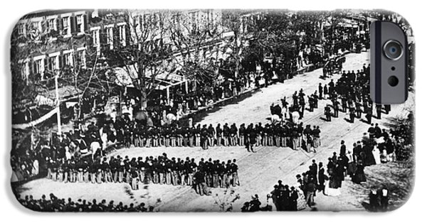White House iPhone Cases - Lincolns Funeral Procession, 1865 iPhone Case by Photo Researchers, Inc.