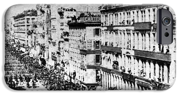 Slavery Abolition iPhone Cases - Lincolns Funeral Procession, 1865 iPhone Case by Photo Researchers