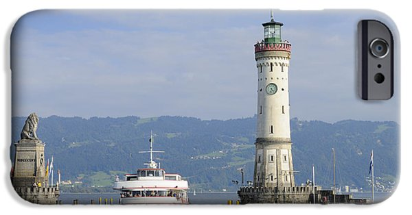 Pleasure iPhone Cases - Lindau harbor with ship Bavaria Germany iPhone Case by Matthias Hauser