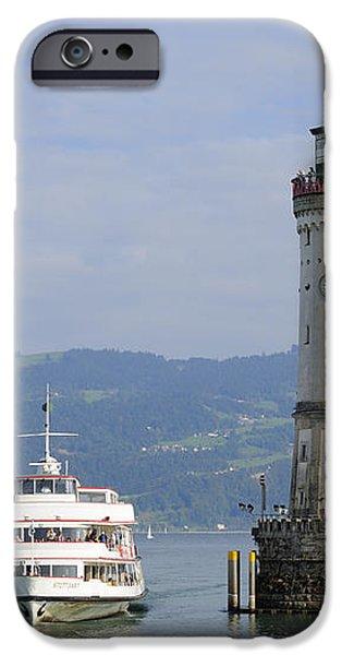 Lindau harbor with ship Bavaria Germany iPhone Case by Matthias Hauser