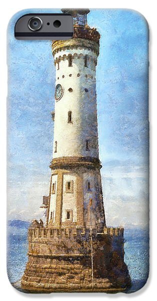Lighthouse Mixed Media iPhone Cases - Lindau Lighthouse in Germany iPhone Case by Nikki Marie Smith