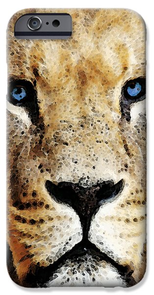 Zoo Animal iPhone Cases - Lion Art - Blue Eyed King iPhone Case by Sharon Cummings