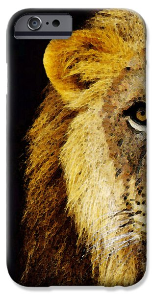 Lion Art iPhone Cases - Lion Art - Face Off iPhone Case by Sharon Cummings