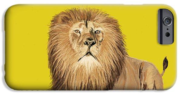 White Pastels iPhone Cases - Lion painting iPhone Case by Setsiri Silapasuwanchai