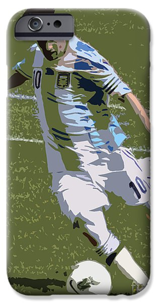 Clash Of Worlds iPhone Cases - Lionel Messi Kicking II iPhone Case by Lee Dos Santos