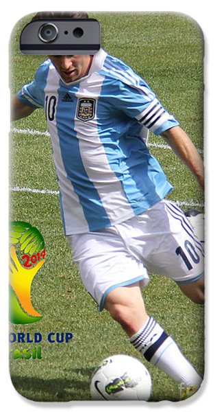 Clash Of Worlds iPhone Cases - Lionel Messi Kicking V FIFA World Cup 2014 iPhone Case by Lee Dos Santos