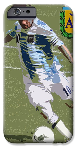 Clash Of Worlds iPhone Cases - Lionel Messi Kicking VI iPhone Case by Lee Dos Santos