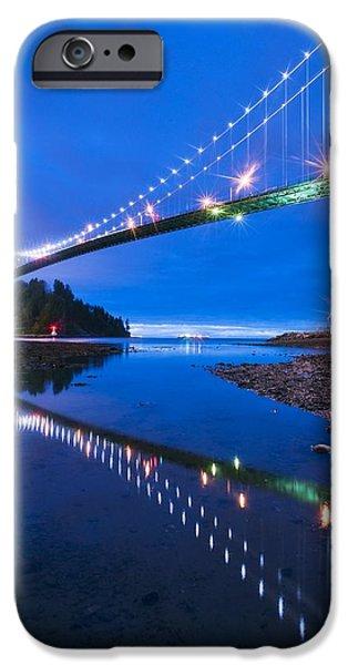 Burrard Inlet iPhone Cases - Lions Gate Bridge, Vancouver, Canada iPhone Case by David Nunuk
