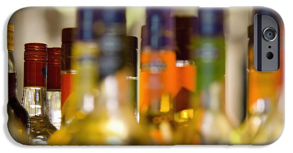 Table Wine iPhone Cases - Liquor Bottles iPhone Case by Shannon Fagan