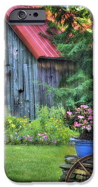 Red Roofed Barn iPhone Cases - Litchfield Hills Summer Scene iPhone Case by Thomas Schoeller