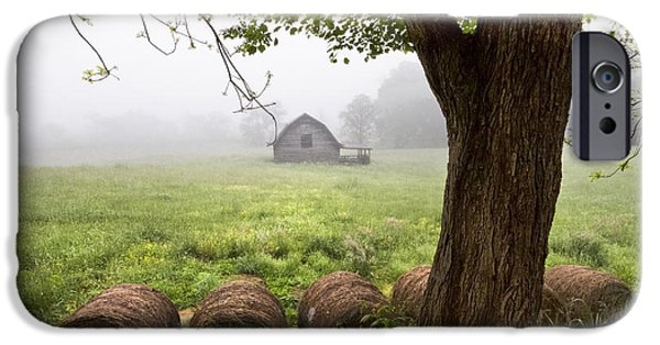 Smokey Mountains iPhone Cases - Little Barn iPhone Case by Debra and Dave Vanderlaan