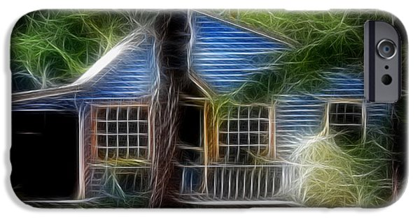 Cape Cod Mixed Media iPhone Cases - Little Blue House Cape Cod  iPhone Case by Marjorie Imbeau