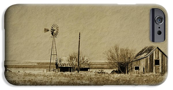 Rural Decay Digital Art iPhone Cases - Little House on the Prairie iPhone Case by Melany Sarafis