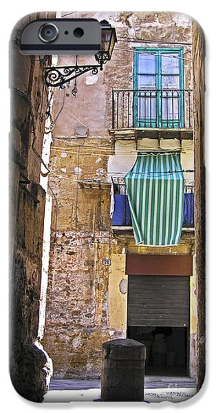 Little Pyrography iPhone Cases - Little street in the old citycenter - PALERMO - SICILY iPhone Case by Silva Wischeropp