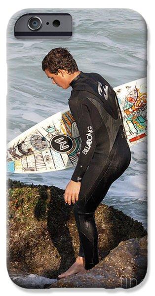 Wet Suit iPhone Cases - Little Surfer Dude iPhone Case by Deborah Benoit