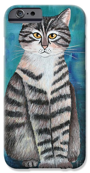 House Pet Paintings iPhone Cases - Little Tiger iPhone Case by Jutta Maria Pusl