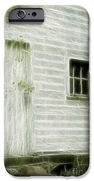 Buildings Mixed Media iPhone Cases - Little White Building Onaping iPhone Case by Marjorie Imbeau