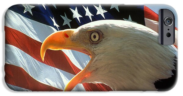 Flag Photographs iPhone Cases - Live Free or Die iPhone Case by Carl Purcell