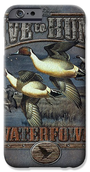 Pine Paintings iPhone Cases - Live to Hunt Pintails iPhone Case by JQ Licensing