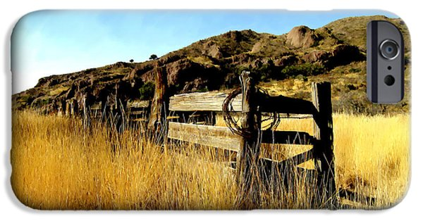 Las Cruces Digital Art iPhone Cases - Livery fence at dripping springs iPhone Case by Kurt Van Wagner