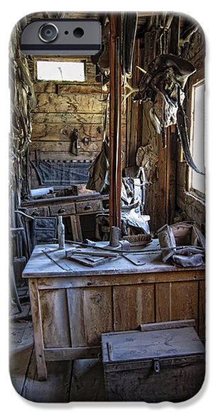 Horse And Buggy iPhone Cases - Livery Stable Work Area - Virginia City Ghost Town - Montana iPhone Case by Daniel Hagerman