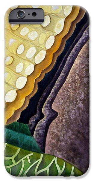 Reptile Paintings iPhone Cases - Lizard Skin Abstract III iPhone Case by Irina Sztukowski