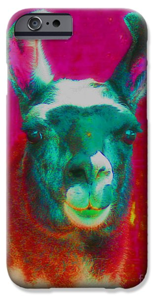 Llama Digital iPhone Cases - Llama Of A Different Color iPhone Case by Smilin Eyes  Treasures