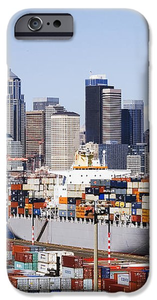 Loaded Container Ship In Seattle Harbor iPhone Case by Jeremy Woodhouse