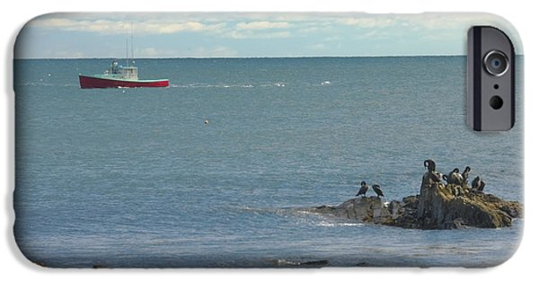 Sea Birds iPhone Cases - Lobster Boat Working off Rocky Seawall Beach Acadi National Park Photo iPhone Case by Keith Webber Jr