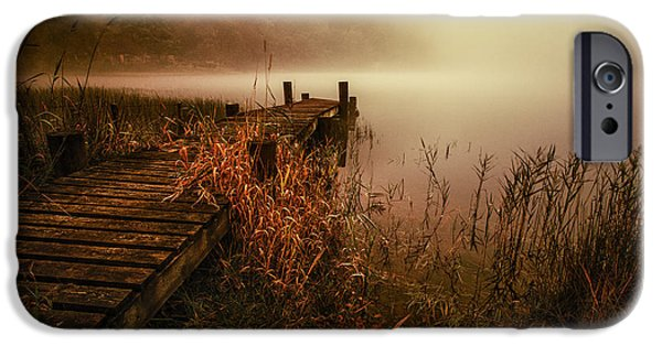 Colour Image iPhone Cases - Loch Ard early morning mist iPhone Case by John Farnan