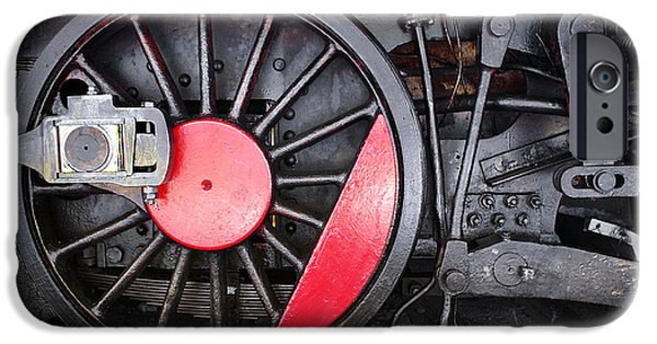 Mechanism iPhone Cases - Locomotive Wheel iPhone Case by Carlos Caetano