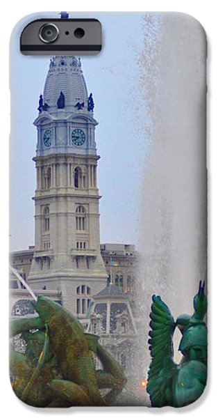 Logan Circle Fountain with City Hall in Backround 2 iPhone Case by Bill Cannon