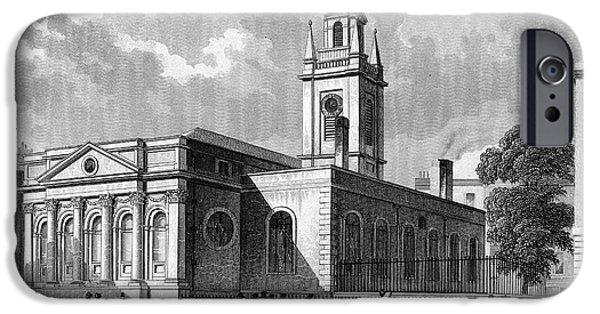 Saint Christopher iPhone Cases - LONDON: CHURCH, c1830 iPhone Case by Granger