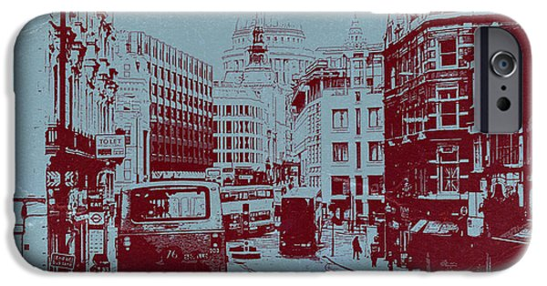 Old Town Digital iPhone Cases - London Fleet Street iPhone Case by Naxart Studio