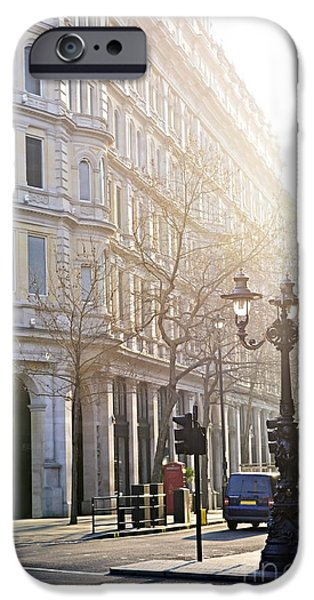 Lamppost iPhone Cases - London street iPhone Case by Elena Elisseeva