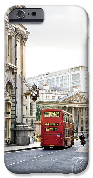 Exchange iPhone Cases - London street with view of Royal Exchange building iPhone Case by Elena Elisseeva