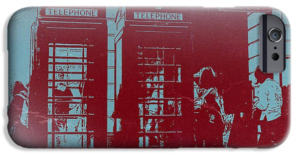 Bus Photographs iPhone Cases - London Telephone Booth iPhone Case by Naxart Studio