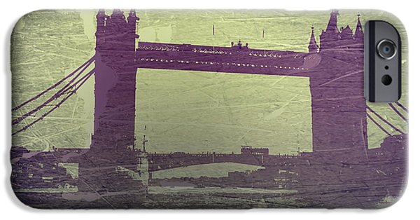 Towns Digital Art iPhone Cases - London Tower Bridge iPhone Case by Naxart Studio